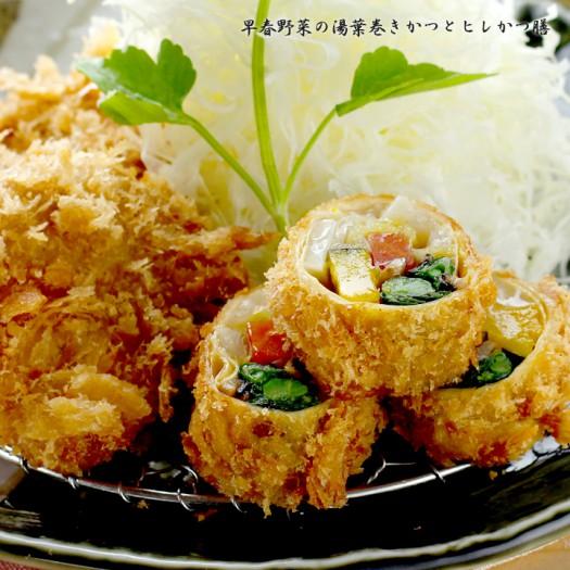 【季節限定】早春野菜の湯葉巻きかつとヒレかつ膳 1,560円