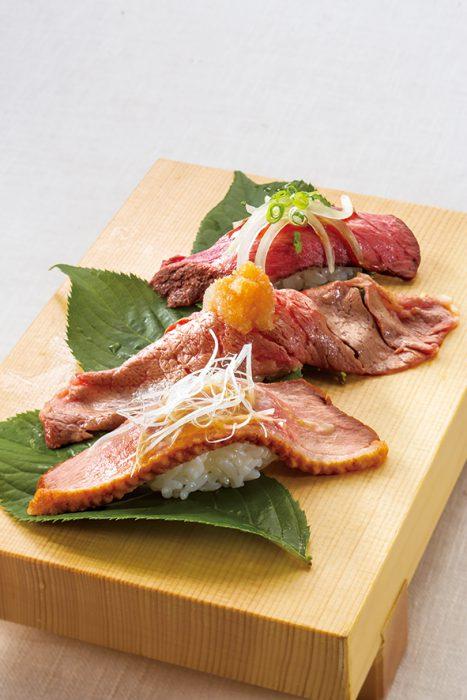 ローストビーフ・黒毛和牛・鴨肉など、函館市場が厳選した肉寿司をどうぞお楽しみくださいませ。