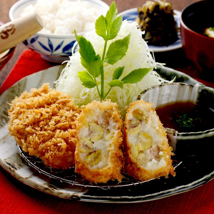 丹波栗とさつま芋の湯葉コロッケとヒレかつ膳 1,640円(税込)