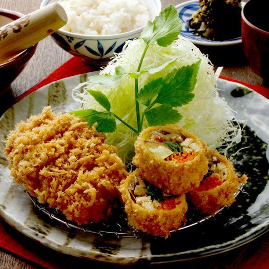 秋野菜の湯葉巻きかつとヒレかつ膳