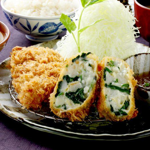 長芋とほうれん草の湯葉コロッケとヒレかつ膳 1,640円