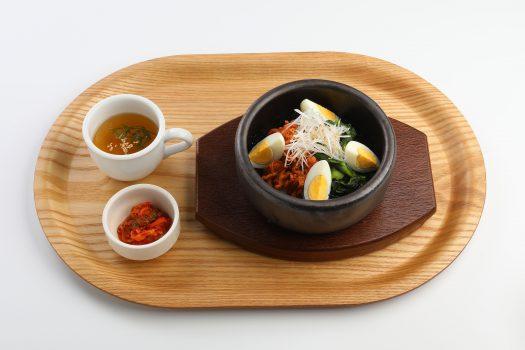 01豚肉のコチュジャン炒めと菜の花の石焼ビビンバ
