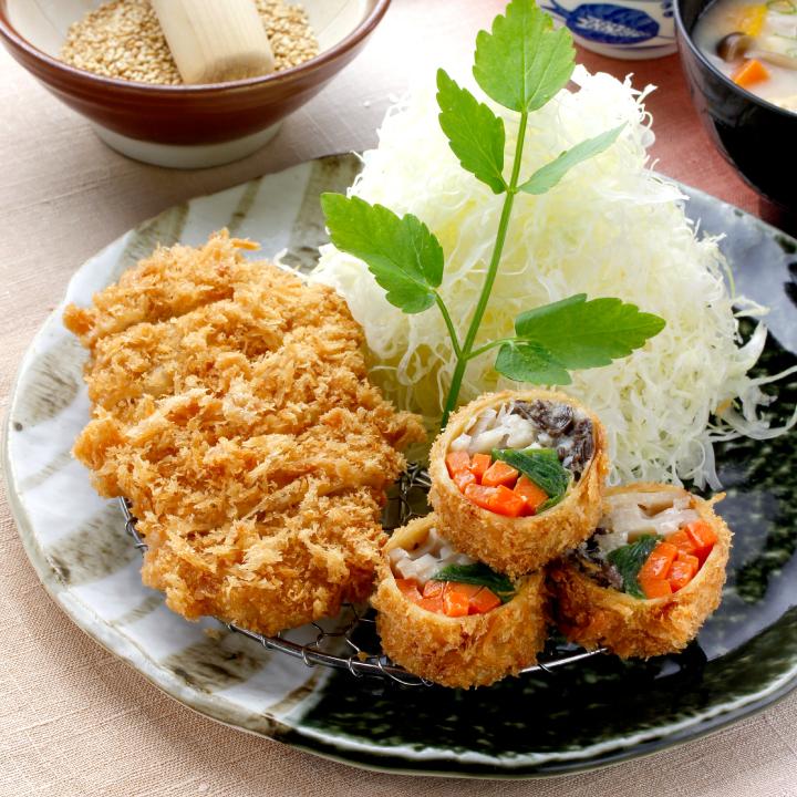 秋野菜の湯葉巻きかつ